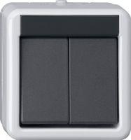 Кнопка шинн. контр. 2-местн., 1-точечн. Накл. водоз. монт. серый