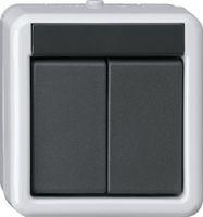 Кнопка шинн. контр. 2-местн., 2-точечн. Накл. водоз. монт. серый