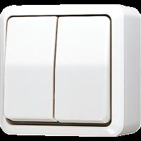 JUNG Выключатель для накладного монтажа сдвоенный; белый