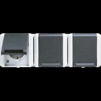 JUNG Тройная  горизонтальная SCHUKO-розетка 16A 250V ~; для накладного монтажа IP44