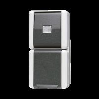 JUNG Комбинация - розетка и однополюсный выключатель; для накладного монтажа IP44