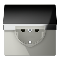 JUNG Штепсельная розетка SCHUKO 16A 250V~ с откидной крышкой; полированный хром