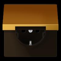 JUNG Штепсельная розетка SCHUKO 16A 250V~ с откидной крышкой; металл цвета золота