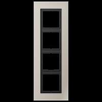 JUNG Рамка для серии LS-Plus 4-кратная; благородная сталь