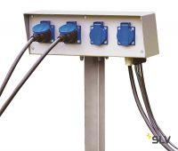 ENERGY-PACK блок подключения на 4 розетки 230B/16A, IP54, шток в грунт 50 см, серый